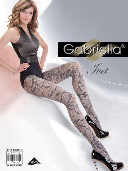 Gabriella - Elegant nätstrumpbyxa med blommigt mönster Ivet
