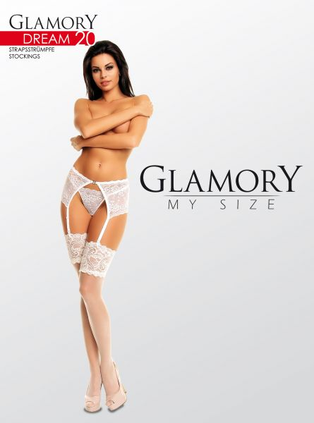Eleganta plus size stockings med dekorativ spets Dream 20 från Glamory