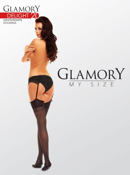 Eleganta plus size stockings med söm på baksidan Delight 20 från Glamory