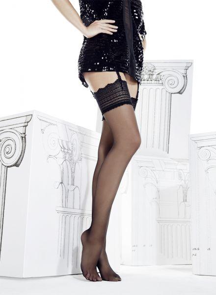 Eleganta tunna stockings med spetskant Atena 15 DEN från Omero