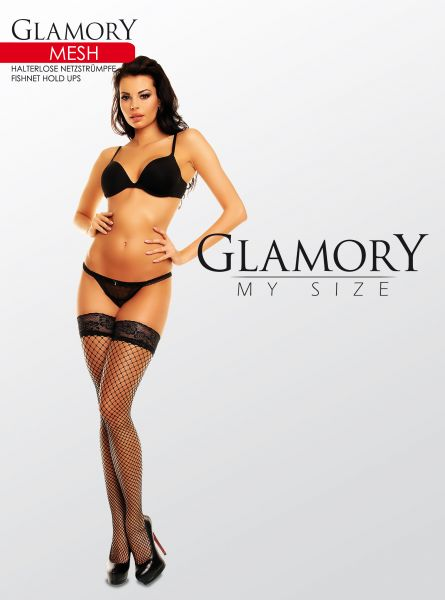 Släta plus size nät stay ups Mesh från Glamory