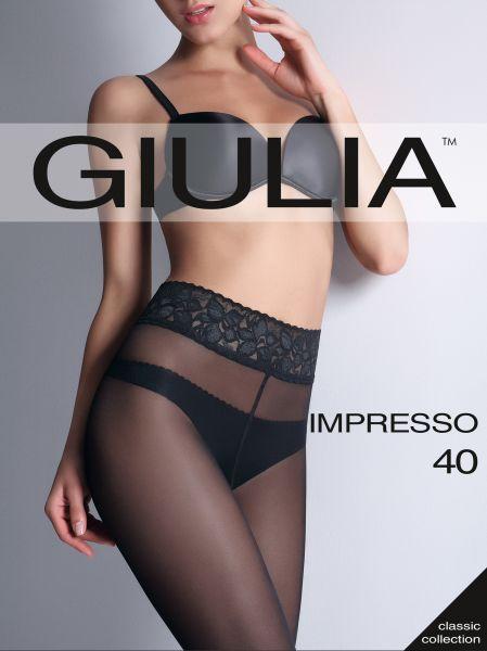 Slät semi-heltäckande strumpbyxa med spetsresår och silikonband Impresso 40 från Giulia
