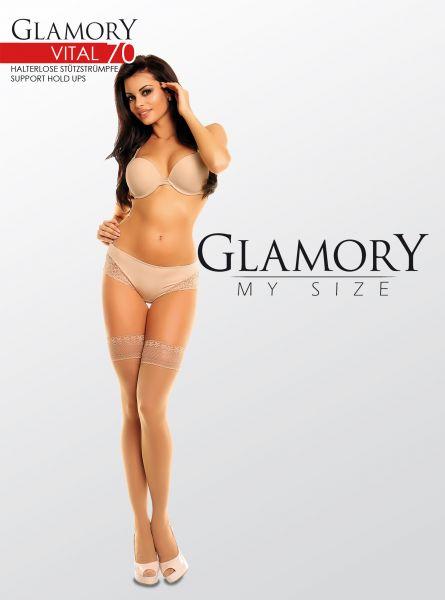 Heltäckande plus size stay ups med inbyggd kompression Vital 70 DEN från Glamory