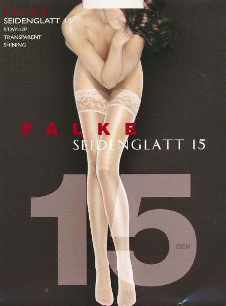 Falke Seidenglatt 15 - Genomskinliga stay ups med sidenglans och dekorativ spets