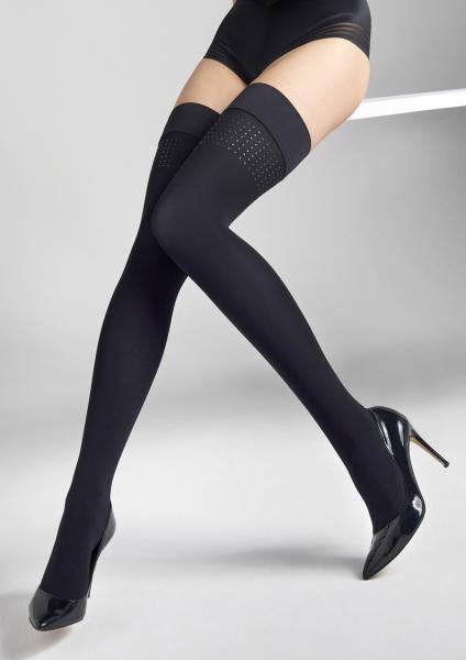 Heltäckande strumpor utan hållare med glansigt applique Coco från Marilyn
