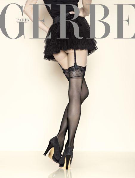 Eleganta stockings med spetskant Sun Satin 15 DEN från Gerbe
