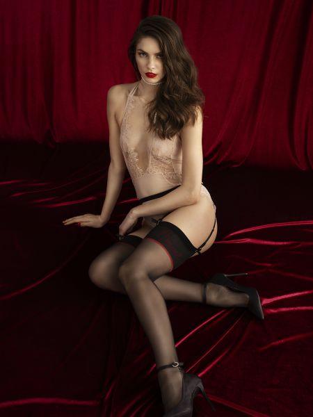 Premium-Quality stockings med mönstrad kant Amante från Fiore, 20 DEN