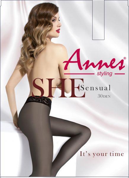 Annes Sensual 30 - Slät strumpbyxa med spetsresår