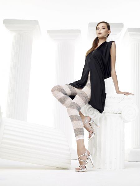 Randiga svartvita leggings med mönster Soleil från Omero
