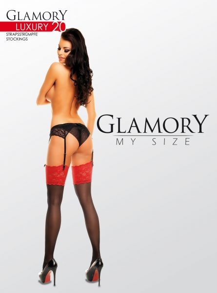 Eleganta glansiga plus size stockings med dekorativ spets Luxury 20 från Glamory