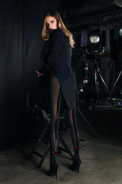 Trasparenze Elegant strumpbyxa med sammetsband och rosett Designer
