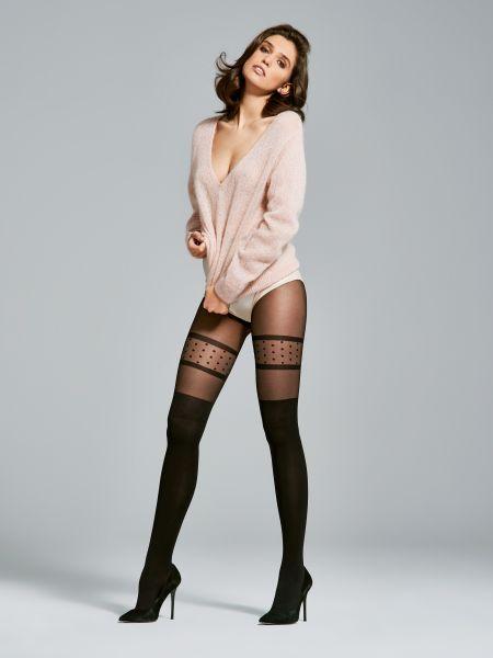 Fiore - Strumpbyxa i overknee-look och prickmönster Femme