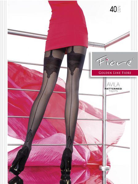 Blommiga strumpbyxor i stockings-look Avila från Fiore, 40 den