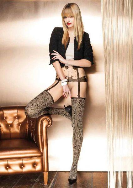 Trasparenze Zircone - Strumpbyxa med animal print och förföriskt mönster i stockings-look