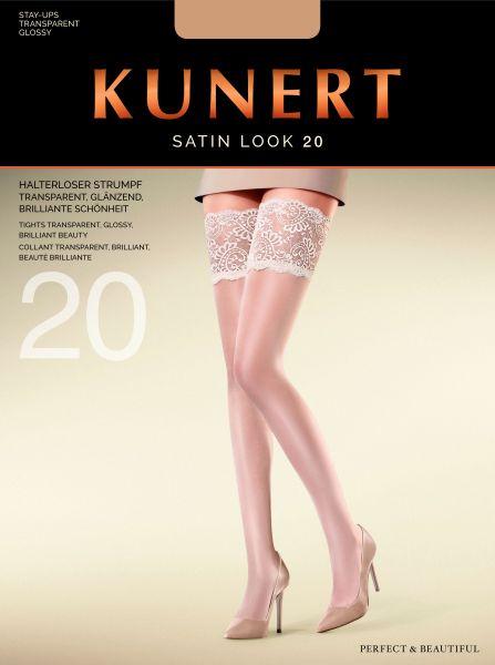 Glansiga stay-ups med dekorationsband Satin Look 20 från Kunert