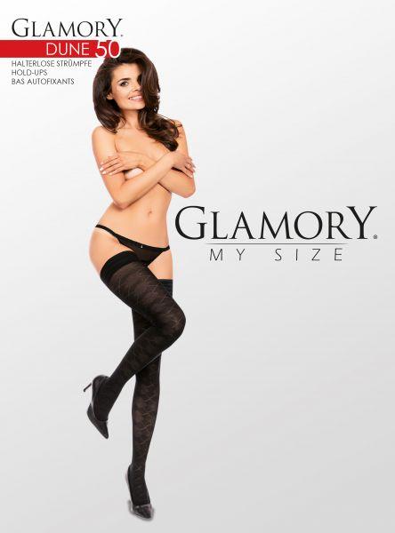 Heltäckande plus size stay ups med rutigt mönster från Glamory