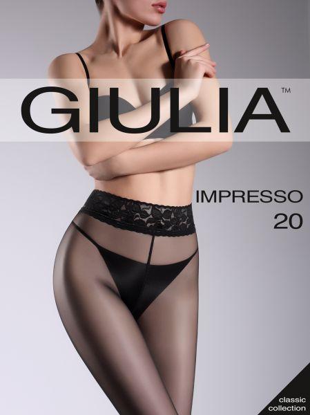 Slät transparent strumpbyxa med spetsresår och silikonband Impresso 20 från Giulia