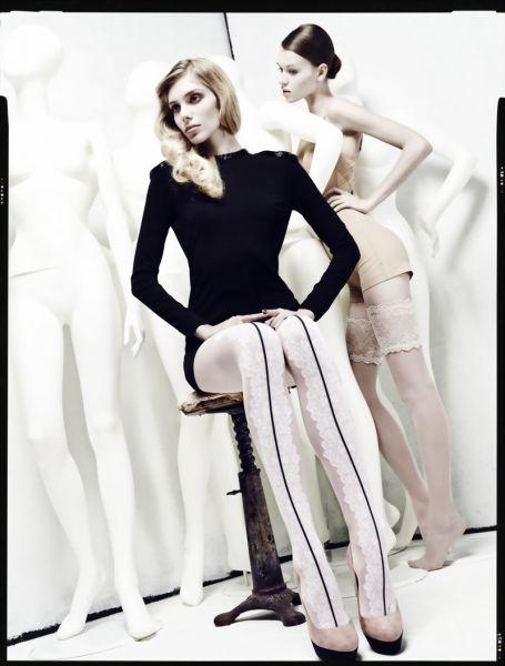 Omero Elegant strumpbyxa med moenster i spets-look och soem Deira