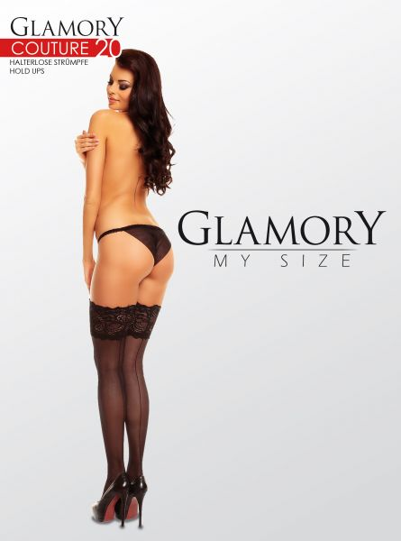 Eleganta plus size stay ups med söm på baksidan Couture 20 från Glamory