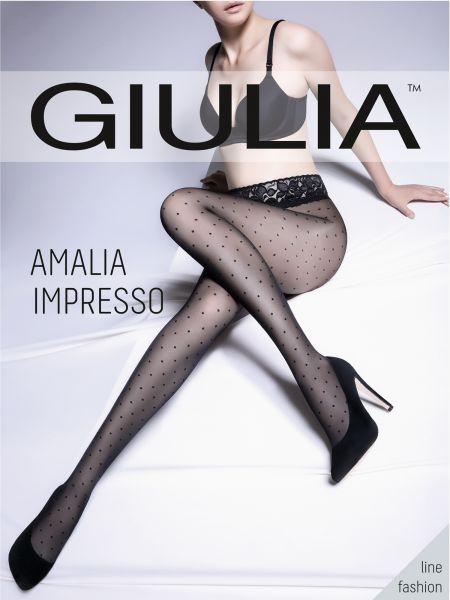 Prickig strumpbyxa med spetsresår och silikonband Amalia Impresso från Giulia