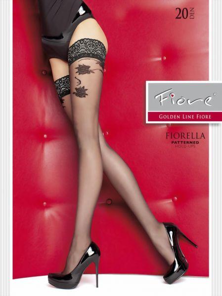 Fiore Stay ups med dekorationsband och floralt moenster Fiorella
