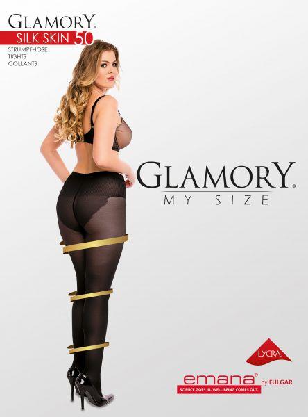 Semi-heltäckande plus size strumpbyxa med figurformande byxdel 50 från Glamory