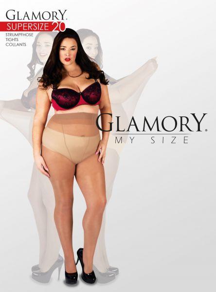 Glansig plus size strumpbyxa utan mönster Supersize 20 DEN från Glamory