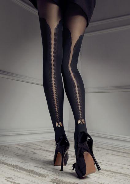 Patrizia Gucci for Marilyn - Heltäckande strumpbyxa i overknee-look med spetsresår