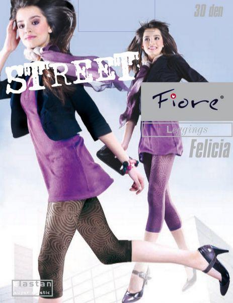 Fiore 3/4-leggings i microfiber med moenster Felicia 30 DEN