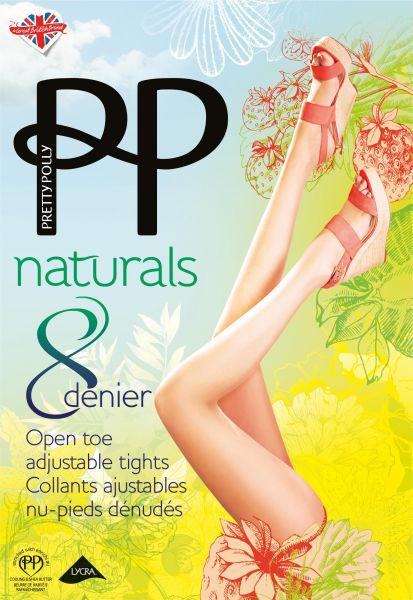 Tunn strumpbyxa med öppen tå Naturals 8 DEN från Pretty Polly