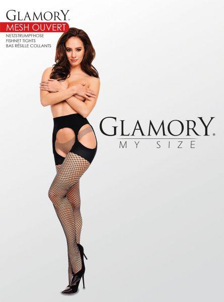 Plus size nätstrumpbyxa i strumpebandshållarlook Mesh Ouvert från Glamory