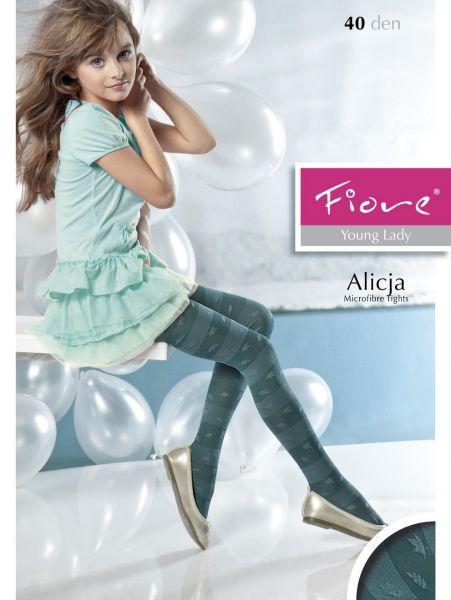 Fiore Trendig barnstrumpbyxa med blomm- och randmönster Alicja