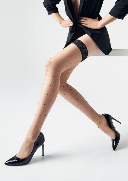 Eleganta stay ups med prickmönster Coco från Marilyn