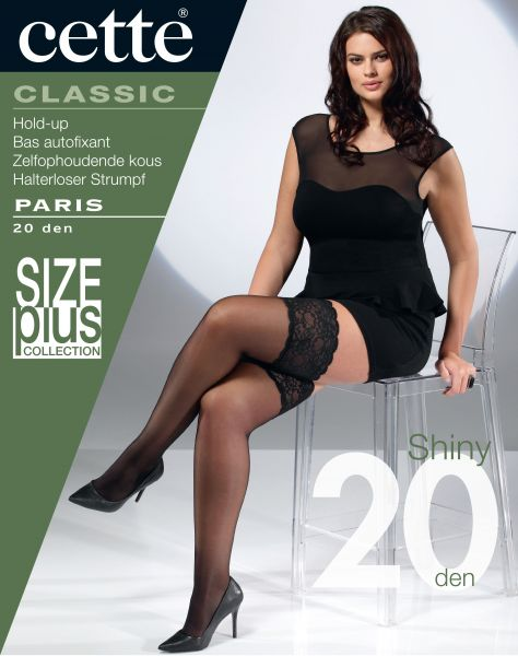Cette Size Plus Collection - 20 denier plus size stay ups med bred spetskant Paris