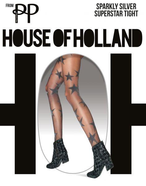 Strumpbyxa med stjärna mönster Sparkly Silver Superstar från House of Holland for Pretty Polly