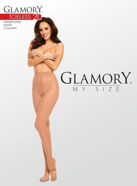 Glansig plus size strumpbyxa med öppen tå Toeless 20 från Glamory