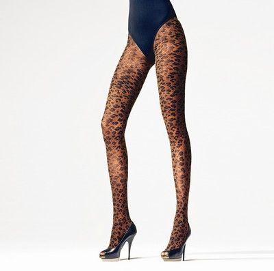 Strumpbyxor med trendigt leopardm