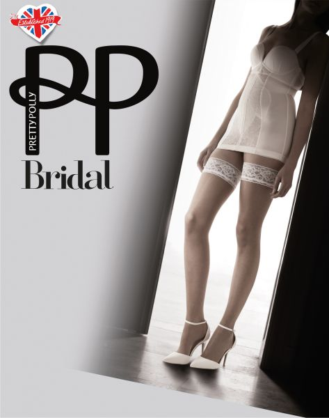 Glansiga stay ups med spetskant Bridal från Pretty Polly