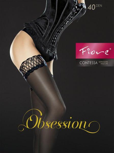 Glansiga stay-ups med dekorationsband Contessa 40 DEN från Fiore