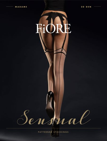 Retro Style Stockings med elegant kant och söm Madame från Fiore, 20 DEN