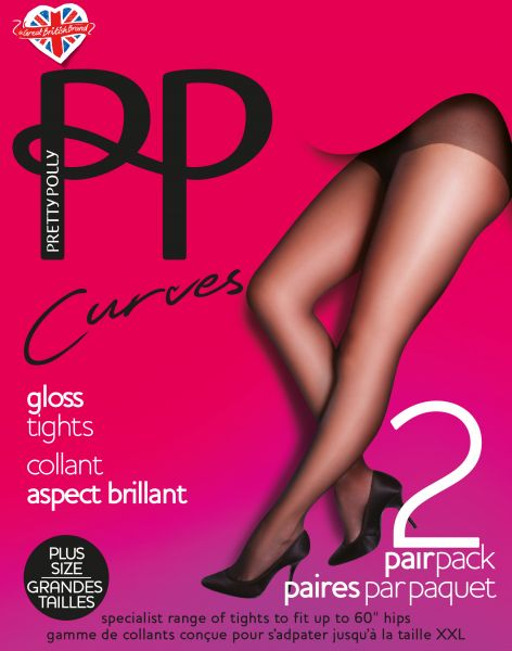 2 par glansig Plus Size strumpbyxa Curves från Pretty Polly