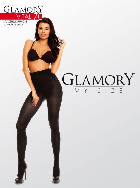 Plus size strumpbyxa med inbyggd kompression Vital 70 DEN från Glamory