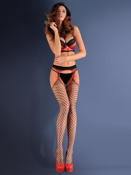 Nätstrumpbyxa i strumpebandshållarlook Strip Panty från Gabriella