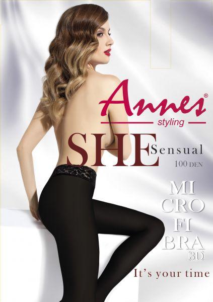 Annes Sensual 100 - Heltäckande strumpbyxa med spetsresår