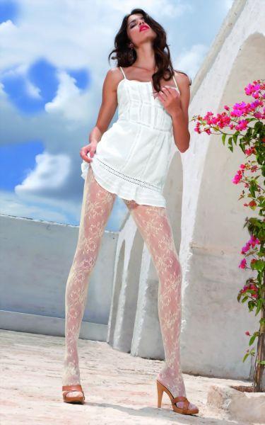 Trasparenze Romantiska spetsstrumpbyxor med blommigt moenster Zahir
