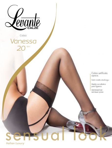 Levante - Klassiska stockings med dekorationsband Vanessa