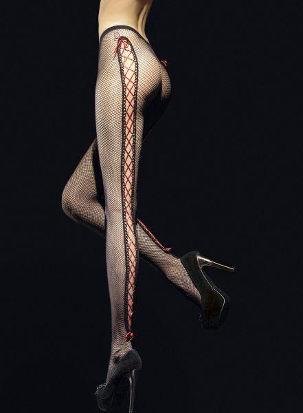 Fiore Invito - Nätstrumpbyxa med cut-outs och röda band