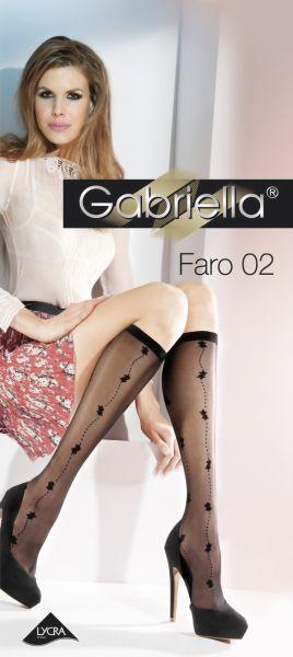 Gabriella Knaestrumpor med blommigt moenster Faro 02