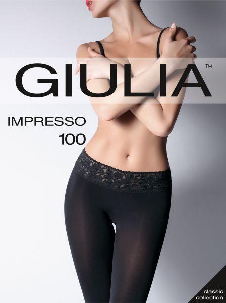 Slät heltäckande strumpbyxa med spetsresår och silikonband Impresso 100 från Giulia