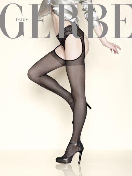 Gerbe - Strip Panty med spetsresår Foly 15 denier